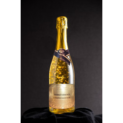 Luxusní šumivé víno se zlatem - Veselé Vánoce a šťastný nový rok