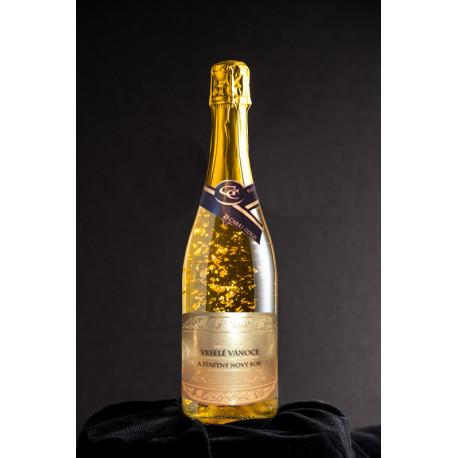 Šumivé víno se zlatem - vánoční